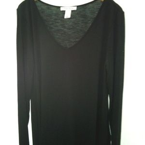 WHBM Womans Black Long Sleeve Tee S EUC